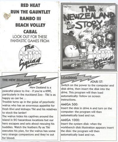 SCANNED] New Zealand Story - Insert only - Atari-Forum
